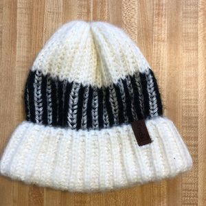 White and Black Winter Hat